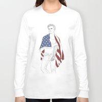 bucky Long Sleeve T-shirts featuring Bucky Barnes by E Cairns Art
