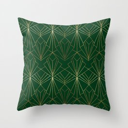Art Deco in Gold & Green Throw Pillow