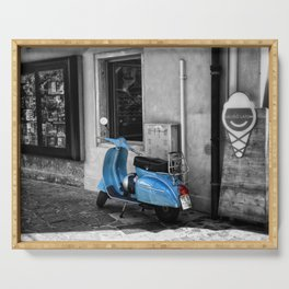 Blue Vespa in Venice Black and White Color Splash Photography Serving Tray