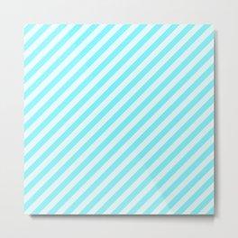 Aqua Blue Stripes Pattern Metal Print