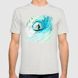 Lone Surfer Tubing the Big Blue Wave T-shirt