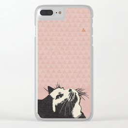 Cat on Pink - Lo Lah Studio Clear iPhone Case