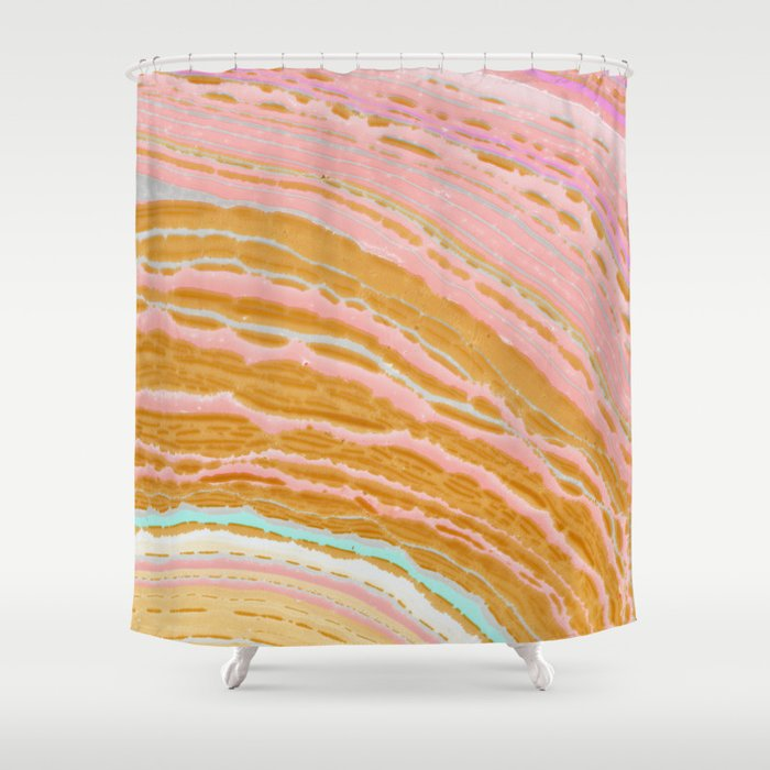 Marble Pink Gold Shower Curtain By Frankieprintco