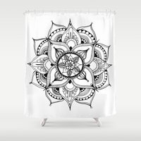 henna Shower Curtains featuring Henna Mandala by Ava Elise