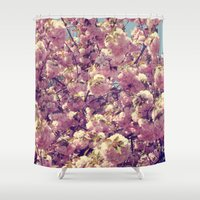 cherry blossoms Shower Curtains featuring Cherry Blossoms by CAPow!