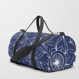 Navy blue white hand drawn floral mandala Duffle Bag