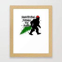 Christmas Attire Squatchin Through the Snow Sasquatch Big Foot Christmas Framed Art Print