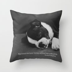 Puppy Love Rudyard Kipling Quote Throw Pillow