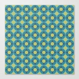 Geometric Circle Pattern Mid Century Modern Retro Blue Green Canvas Print