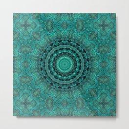 Batik . Malachite Kaleidoscope Metal Print
