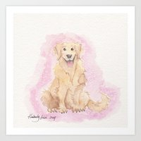 golden retriever Art Prints featuring Golden Retriever by Lilies and Willows