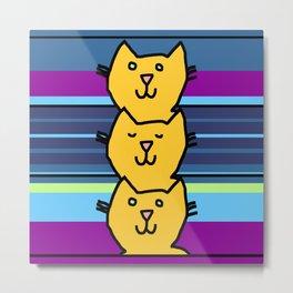 Yellow Cat Column Metal Print