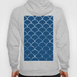 Textured large scallop pattern in snorkel blue Hoody