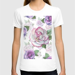Hand painted lavender purple watercolor roses flowers T-shirt