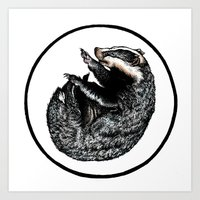 badger Art Prints featuring Badger by Natalie Toms Illustration