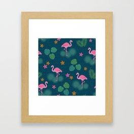Bohemian nonchalance tropical flamingo pattern on dark background Framed Art Print