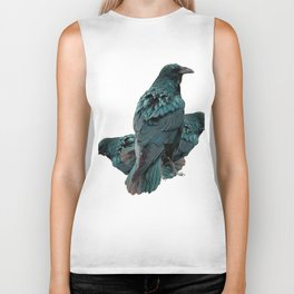 THREE CROWS/RAVENS  SOCIALIZING FROM SOCIETY6 Biker Tank