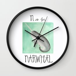 N is for Narwhal Wall Clock