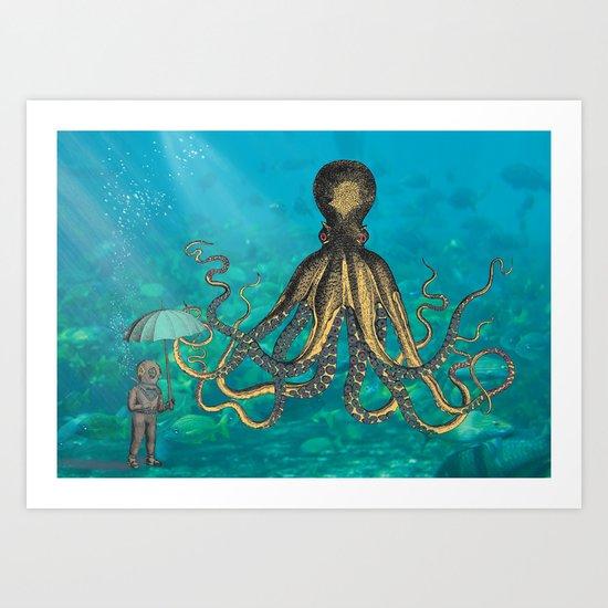 Octopus & The Diver Art Print