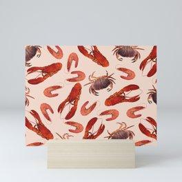 Lobster - Crab - Shrimps coral background Mini Art Print