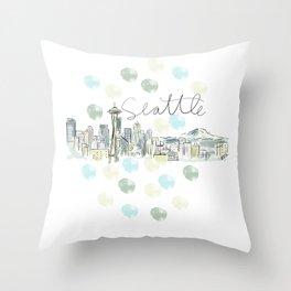 Seattle Skyline RER Throw Pillow