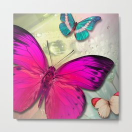 Colorful Butterfly Trio & Nature Backdrop Metal Print