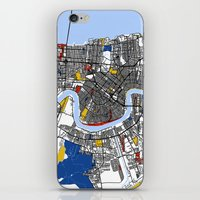 new orleans iPhone & iPod Skins featuring New Orleans by Mondrian Maps