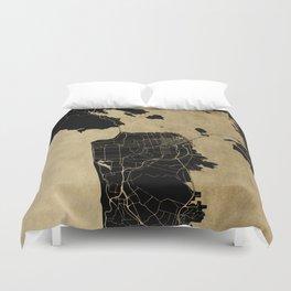 San Francisco California Black and Gold Map Duvet Cover