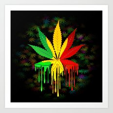 Marijuana Leaf Rasta Colors Dripping Paint Art Print