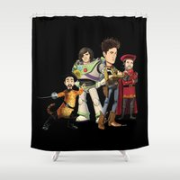 bastille Shower Curtains featuring OPC Bastille Technicolor (black) by Other People's Characters