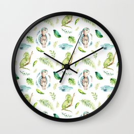 Hand painted green watercolor cute turtle animal floral Wall Clock