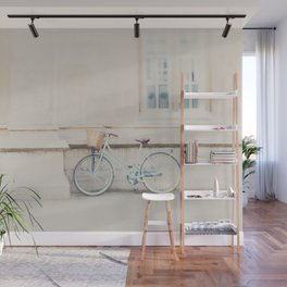 a mint green bicycle is the perfect way to travel around Cambridge Wall Mural