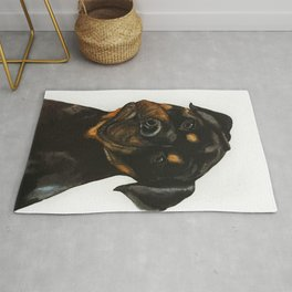 Watercolor Rottweiler art by Anne Gorywine Rug