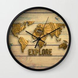 Explore Vintage World Map on Wood Wall Clock