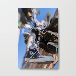 Hanging in the Shoe tree on Hwy 395 Metal Print