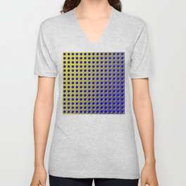 Blue and yellow brushed metal with holes Unisex V-Neck
