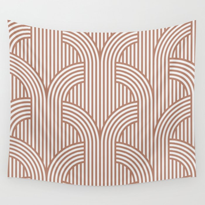 Terracotta retro lines Wall Tapestry