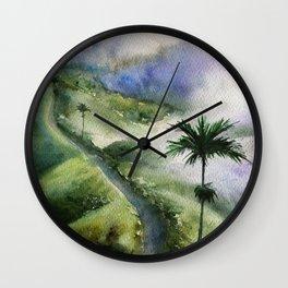 Bali Nature Watercolor Art Wall Clock