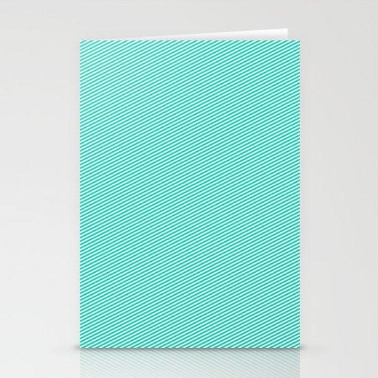Aqua stripes Stationery Cards