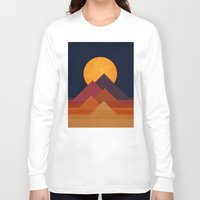 landscape Long Sleeve T-shirts featuring Full moon and pyramid by Picomodi