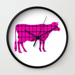 Cow: Pink Plaid Wall Clock