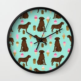 chocolate lab ice cream cute funny dog breed pet pattern labrador retriever Wall Clock