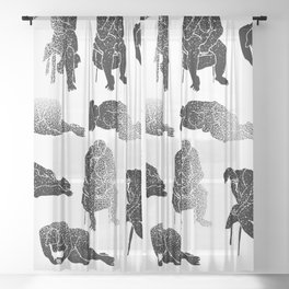 b&w fading figures Sheer Curtain