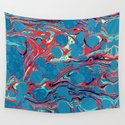 Vintage Marble Blue Watercolor Ink Abstract Pattern by lemiroir