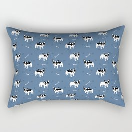 French Bulldogs on Brittany Blue Background Rectangular Pillow
