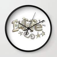 europe Wall Clocks featuring Europe Text by Dues Creatius