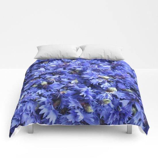 Bed of cornflowers Comforters