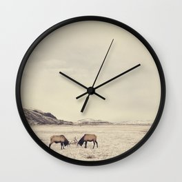 Sparring Elk in Wyoming - Wildlife Photography Wall Clock