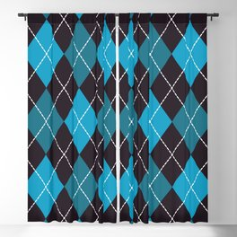 Halloween blue argyle pattern Blackout Curtain