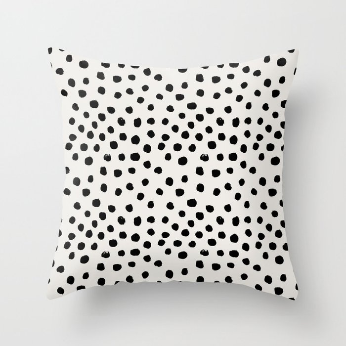 Preppy brushstroke free polka dots black and white spots dots dalmation animal spots design minimal Throw Pillow